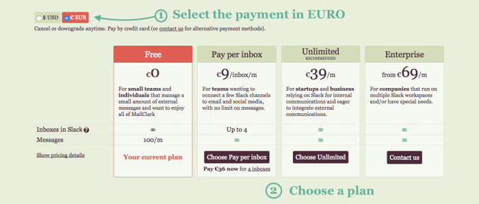 Select 'Euro' on the top left corner