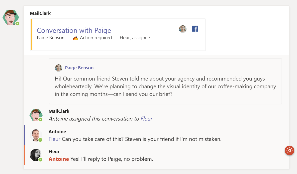 Collaborate with your Teammates on Facebook's Messages into MS Teams