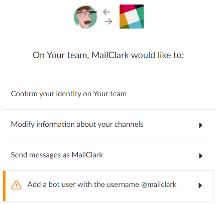 MailClark for Slack — Permissions requested