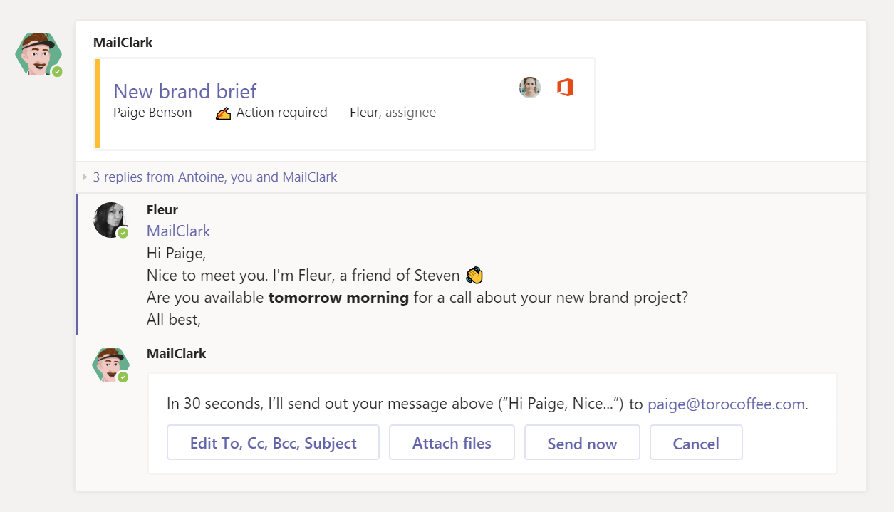 MailClark: MCollaborate with Your Colleagues in MS Teams